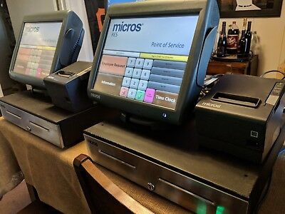 Micros 3700 RES POS System w/ 2 Workstations, cash drawers, printers & 1 Tablet