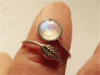 Vintage Women Moonstone Jewelry Adjustable 925 Silver Ring Opening Size  Party
