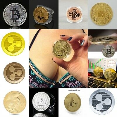 Bitcoin! Litecoin! Ethereum Coin Ripple Gold Silver Plated Collectible Miner Art