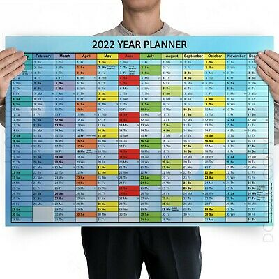 A1 A2 A3 A4 Size 2019 Annual Wall Planner Plan holidays work birthdays New Years
