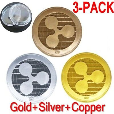 3-Pack Gold Ripple Commemorative Round Collectors XRP Coin is Gold Plated Coins