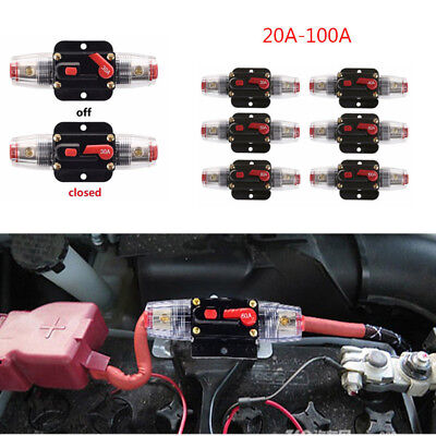 12V DC 20A-100A AMP Car Audio Inline Circuit Breaker Solar Energy Fuse Holder