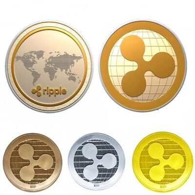 Gold & Silver Ripple Commemorative Round Collectors Coin XRP Coins Gifts