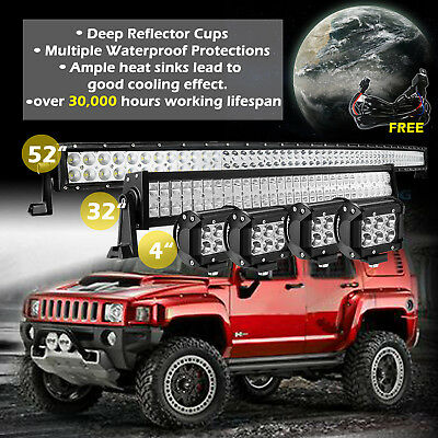 """52Inch Curved LED Light Bar + 32in + 4"""" CREE Pods Offroad SUV ATV Ford Jeep 50"""""""
