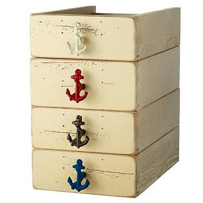 Ships Anchors Drawer Pulls Cabinet Knobs Set of 4 Painted Distressed Cast Iron