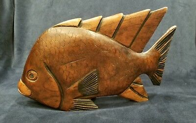 "Vintage Hand Carved Wood Fish LARGE Beautiful Freestanding Mantle 10.75""x6.75"""