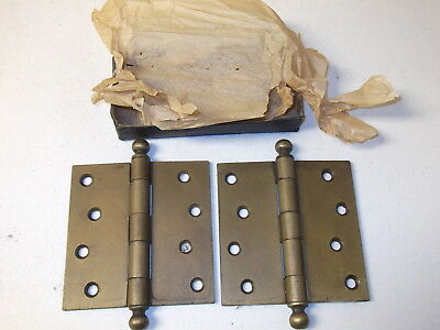 "NOS 2 Vintage 4x4 McKinney Brass Steel Ball Tip Door Hinges ""Dull Brass Finish"""