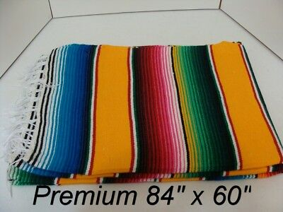 84 x 60 YELLOW Multi Color Large Sarape Mexican Saltillo Serape Throw Blanket