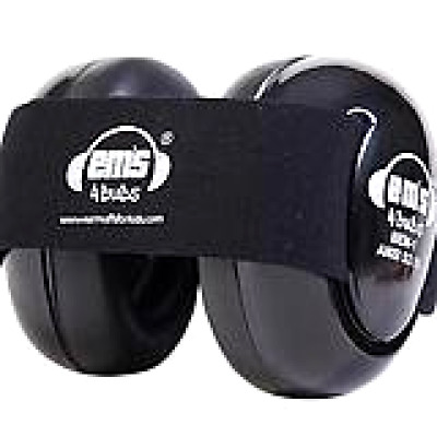 Em's 4 Bubs Ear Hearing Protection Infant Baby Earmuffs Size 0-18 Months, Black