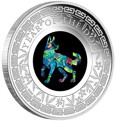 2018 $1 Australian Opal Series - Dog -1 oz Silver Proof Coin - Perth Mint