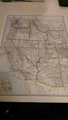Western United States Nos 177-178: Map from Harmsworth Universal Atlas (c.1900)