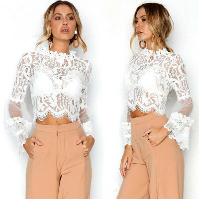Fashion Sexy Women Lace Casual Tops Hollow Out Flare Sleeve Short Blouse Wear US