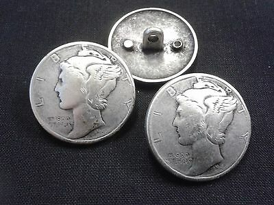 12 SILVER COLOURED LIBERTY METAL BUTTONS COIN SHANK BACK 26mm vintage head
