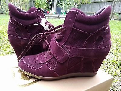 fd41acf5bbd  235 ASH LIMITED Bowie Wedge Suede leather High Sneakers WOMEN BURGUNDY 40  US 9