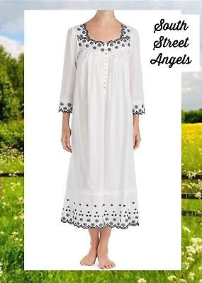 Eileen West E5019830 White / Black Embroidered Cotton Lawn Long Nightgown Xl