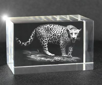 VIP-LASER 3D XL Glaskristall Quader mit Jaguar in 3D