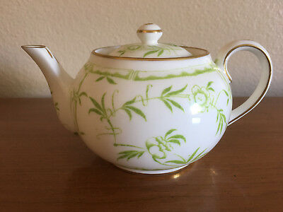 Hammersley Green Bamboo Tiffany & Company Single Serve Tea Pot EUC 12-14oz Rare