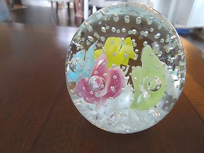 Joe St. Clair Art Glass 5 Color TRUMPET Flower & Controlled Bubble Paperweight