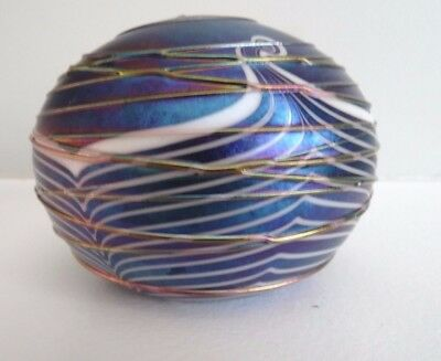 1987 TERRY CRIDER Glass Threaded Pulled Feather Paperweight AURENE Iridescent