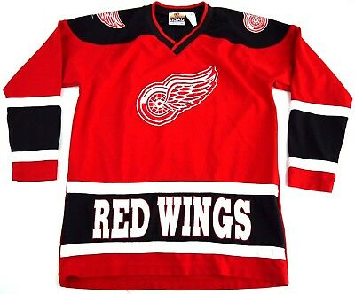 VINTAGE Detroit RED WINGS JERSEY NHL HOCKEY winning goal SEWN AUTHENTIC YOUTH L