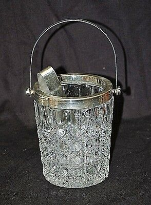 Vintage Windsor by Federal Ice Bucket Clear Glass Button Dot w Ice Tongs Barware