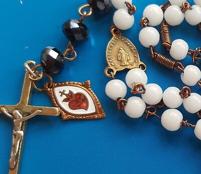 Antique White Glass Bronze Rosary Virgin Mary Immaculate Enamel Heart Medal