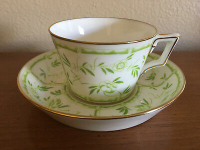 Hammersley Green Bamboo Tiffany & Company Flat Cup and Saucer Made in England