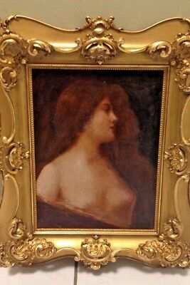 Angelo Asti 19th Century French Victorian Unsigned Oil Painting Beautiful Nude!