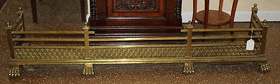 Beautiful Ornate Brass Paw Footed Antique 1890s Fireplace Fender Good Condition