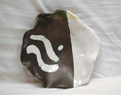 Vintage Hand Crafted Studio Art Pottery Bowl Black & White Abstract Design MCM