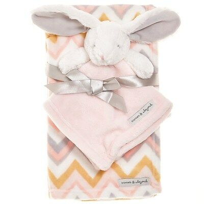 Blankets & Beyond Baby Girl Layette Pink Chevron Bunny Rabbit Nunu Security Set