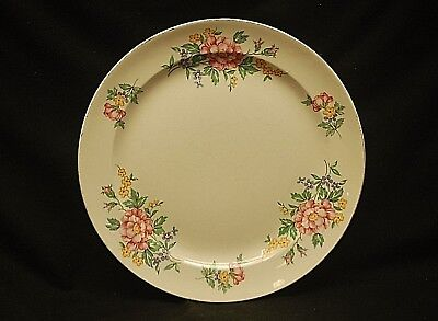 """Old Vintage Edwin Knowles 10"""" Dinner Plate w Floral Edge & Gold Trim"""