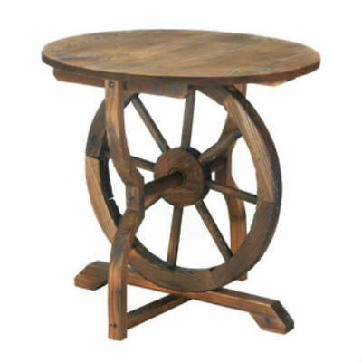 Wagon Wheel Table Rustic Charm Modern Accent Table Fir Wood And Iron