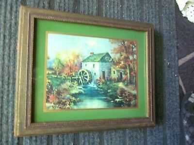 Large Antique Keepsake Box Wood Framed Print Water Wheel Grist Mill Collectible