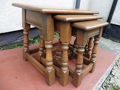 Old Charm Wood Bros Light Oak Nest Of Tables, 3 Nested Tables Clean Quality Set