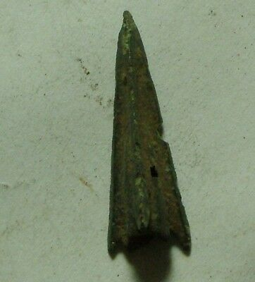 Rare genuine ancient Scythian Greek bronze arrowhead 4 Cent BC poison opening