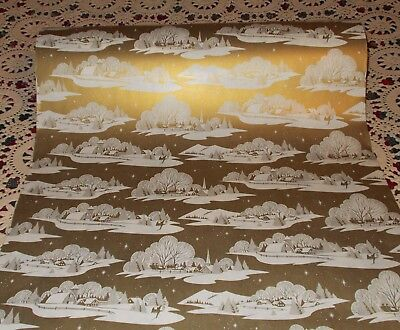 Vtg Christmas 1950 Store Wrapping Paper Roll 2 Yards Church Sleigh Scene On Gold