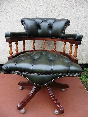 Antique Style Green Leather Office Chair, Swivel Action, Chesterfield Buttoned.