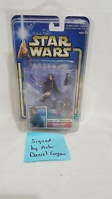 Actor Signed Daniel Logan on Star Wars ATOC young Boba Fett Mint on Mint Card!