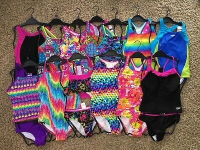 NWT Girls' Speedo Swimsuits pink blue purple black tankini bikini 1pc sizes 8-16