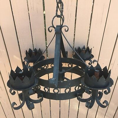 Vintage Large Round Black Gothic Ceiling Chandelier Wrought Iron 4 Lights