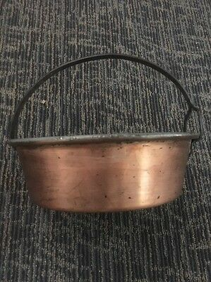 Vintage Copper Cauldron Hand Hammered Pot with Iron Handle Antique Primitive