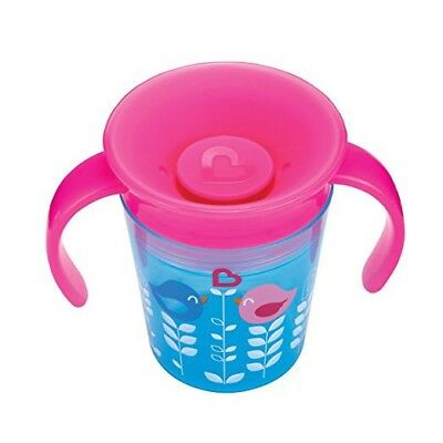 Munchkin Miracle 360 Degrees Deco Trainer Cup 6 oz/177 ml Blue Pink Handle Bird