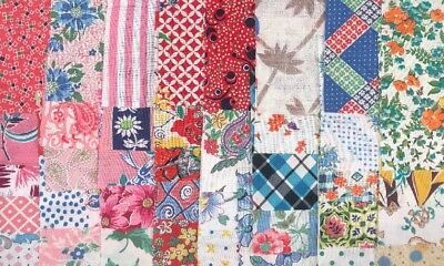 Vintage Feed Sack Flour Sack Fabric 40 Pcs 4 1/2 Precut Blocks/Charms/Squares A2
