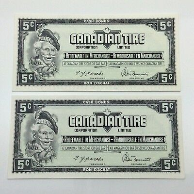 1974 2 Consecutive Canadian Tire 5 Five Cents CTC-S4-B-TN Uncirculated D129