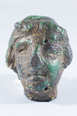 LAC  Ancient  Roman bronze head 1st Century AD (64)