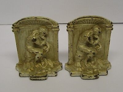 RODIN THE THINKER Pair Vintage Molded Cast Metal Bookends Shabby Chic
