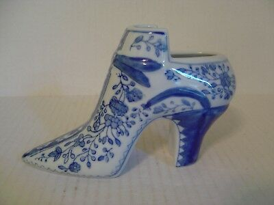 Vintage Blue And White Porcelain Chinese High Heeled Shoe Figurine Planter