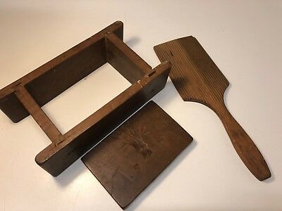 Antique Early American Rectangular Hand Carved Butter Mold Press Stamp