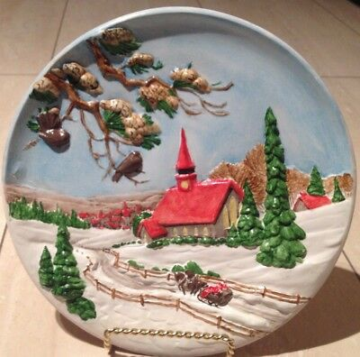 vintage Rare collectible handmade winter countryside Wall plate home decor